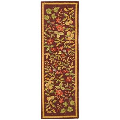 Helena Hand-Hooked Wool Burgundy Area Rug Rug Size: Runner 26 x 8