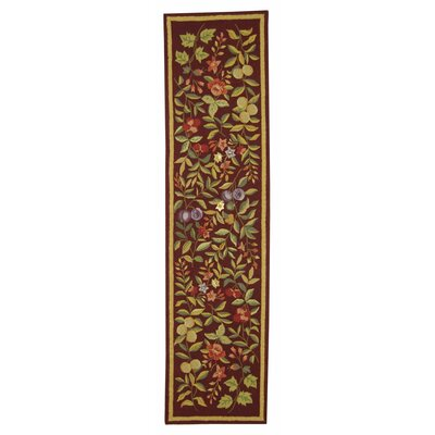 Helena Hand-Hooked Wool Burgundy Area Rug Rug Size: Runner 26 x 10