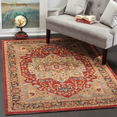 Coleraine Red/Brown Area Rug Rug Size: Runner 22 x 18
