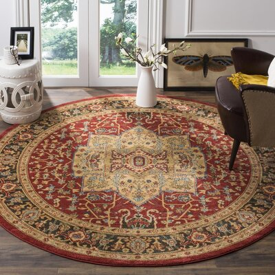 Coleraine Red/Brown Area Rug Rug Size: Round 67