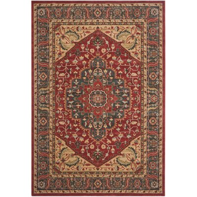 Coleraine Navy/Red Area Rug Rug Size: 67 x 92