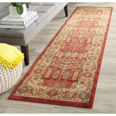 Coleraine Red/Natural Area Rug Rug Size: Runner 22 x 8