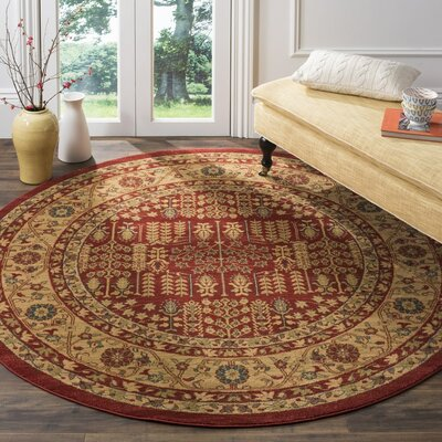 Coleraine Red/Natural Area Rug Rug Size: Round 67