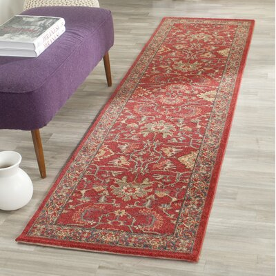 Coleraine Red Area Rug Rug Size: Runner 22 x 12