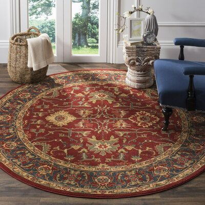 Coleraine Red Area Rug Rug Size: Round 67