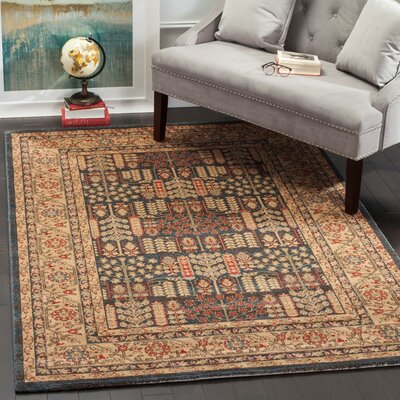 Coleraine Blue/Yellow Area Rug Rug Size: 5'1