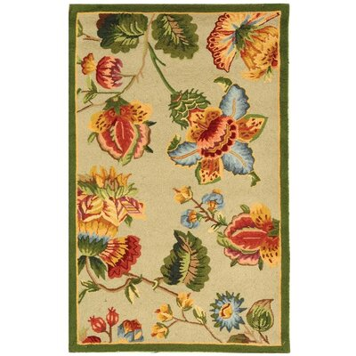 Helena Hand-Hooked Wool Beige Area Rug Rug Size: Rectangle 29 x 49