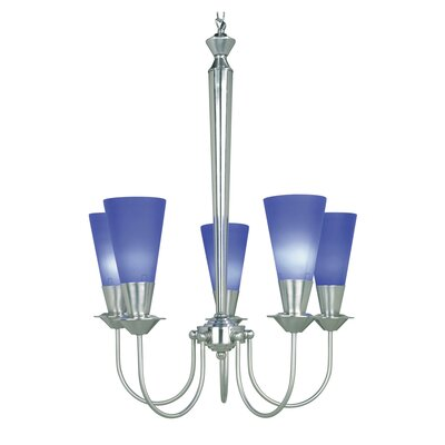 Brannon 5-Light Shaded Chandelier Finish: Steel and Blue