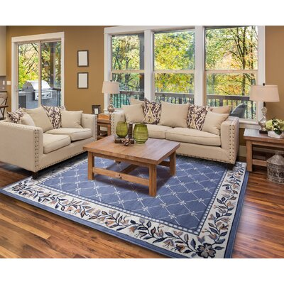 Modena Geometric Country Blue Area Rug Rug Size: 37 x 53