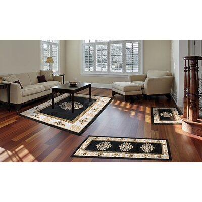 Modena Black Area Rug Rug Size: Rectangle 37 x 53