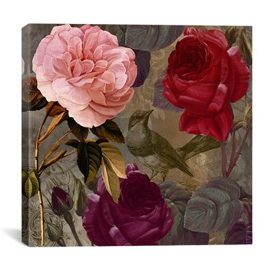 Birds and Roses Graphic Art on Canvas Size: 12