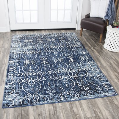Monroe Dark Blue Area Rug Rug Size: Rectangle 67 x 96