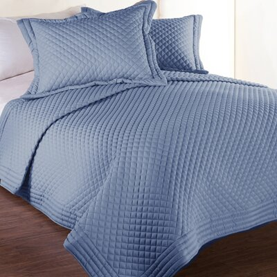 Morgandale Microfiber Stain and Water Resistant Diamond Quilt Size: Twin, Color: Smoke Blue
