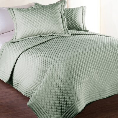 Morgandale Microfiber Stain and Water Resistant Diamond Quilt Size: King, Color: Sage