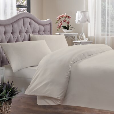 Egyptian Quality Cotton Sateen 400 Thread Count Duvet Cover Size: King, Color: Ivory