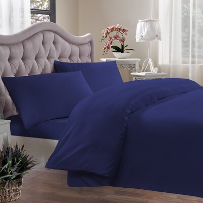 Egyptian Quality Cotton Sateen 400 Thread Count Duvet Cover Size: Full/Queen, Color: Navy