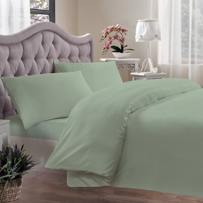 Egyptian Quality Cotton Sateen 400 Thread Count Duvet Cover Size: King, Color: Sage