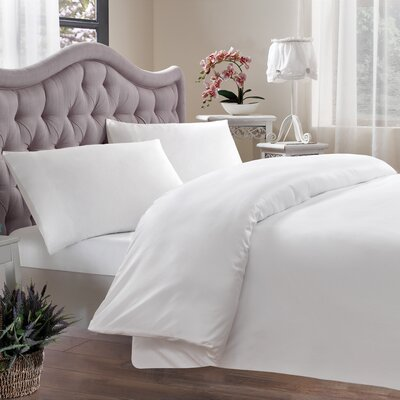 Egyptian Quality Cotton Sateen 400 Thread Count Duvet Cover Size: King, Color: White