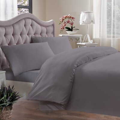 Egyptian Quality Cotton Sateen 400 Thread Count Duvet Cover Size: King, Color: Grey