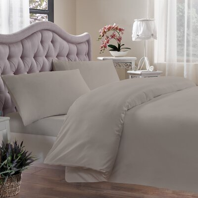 Egyptian Quality Cotton Sateen 400 Thread Count Duvet Cover Size: Twin, Color: Linen