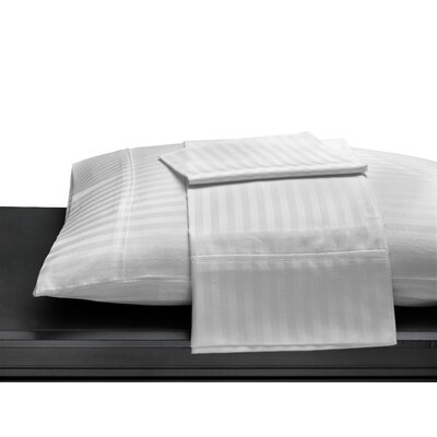 Egyptian Quality Cotton Sateen 400 Thread Count Duvet Cover Size: Full/Queen, Color: White Stripe