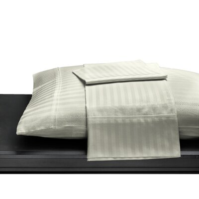 Egyptian Quality Cotton Sateen 400 Thread Count Duvet Cover Size: King, Color: Ivory Stripe