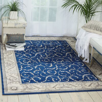 Godfrey Navy/Beige Area Rug Rug Size: Rectangle 36 x 56