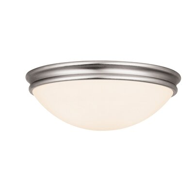 Nelsonville 2-Light Flush Mount Finish: Brushed Steel, Size: 3.5 H x 12.5 W x 12.5 D, Bulb Type: Fluorescent