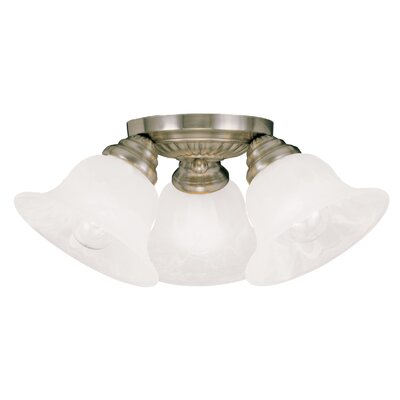 Nicolas 3-Light Flush Mount Finish: Antique Brass