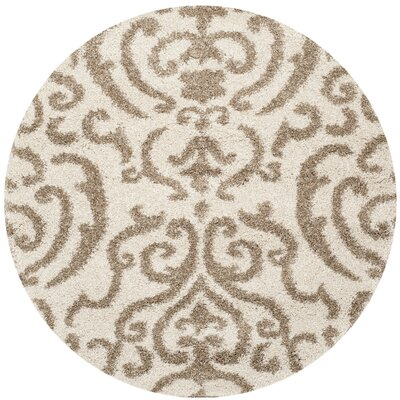 Hall Brown/Beige Area Rug Rug Size: Round 5