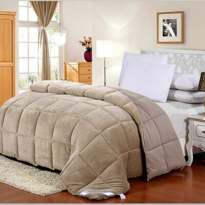 Broncho Flannel/Microfiber Goose Down Alternative Comforter Color: Taupe, Size: Full/Queen