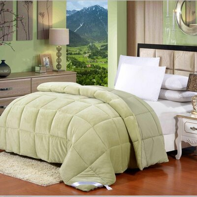 Broncho Flannel/Microfiber Goose Down Alternative Comforter Size: Twin, Color: Sage