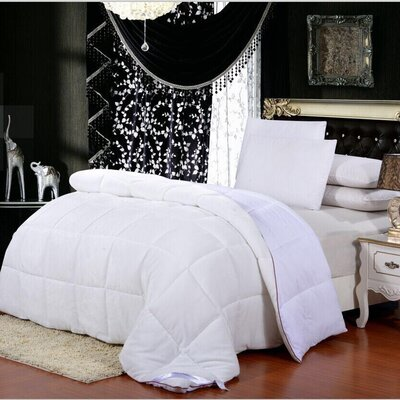 Broncho Flannel/Microfiber Goose Down Alternative Comforter Size: Twin, Color: White