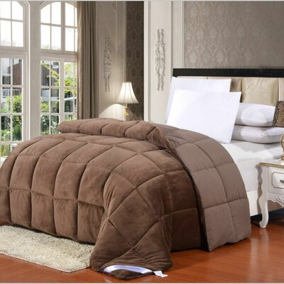 Broncho Flannel/Microfiber Goose Down Alternative Comforter Size: Full/Queen, Color: Chocolate