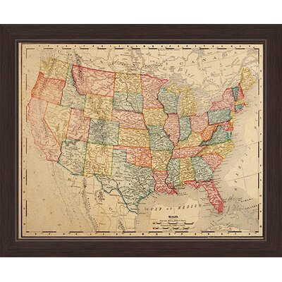 'Colored Map Of The United States' Framed Graphic Art Print on Canvas