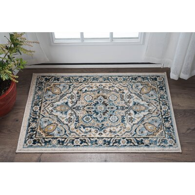 Peyton Traditional Blue/Beige Area Rug Rug Size: 710 x 103