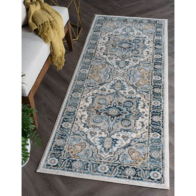 Peyton Traditional Blue/Beige Area Rug Rug Size: Runner 27 x 73