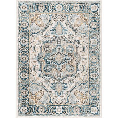Peyton Traditional Blue/Beige Area Rug Rug Size: 53 x 73