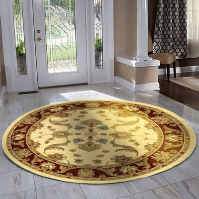 Rowena Persian Cream & Red Area Rug Rug Size: Round 4