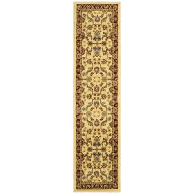 Rowena Persian Cream & Red Area Rug Rug Size: Runner 1'10