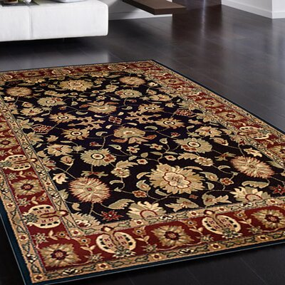 Rowena Persian Black/Red Area Rug Rug Size: Rectangle 79 x 910