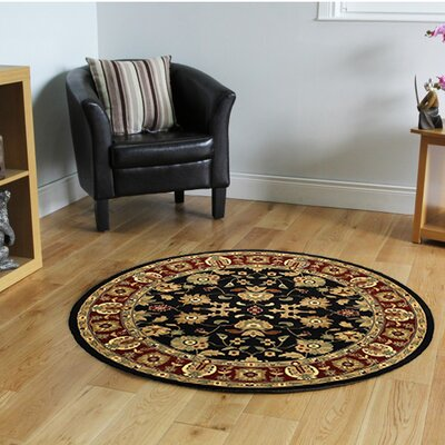 Rowena Persian Black/Red Area Rug Rug Size: Round 6