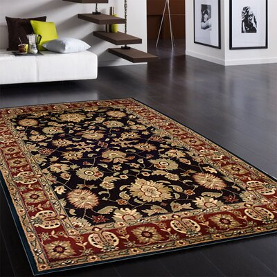 Rowena Persian Black/Red Area Rug Rug Size: 79 x 910