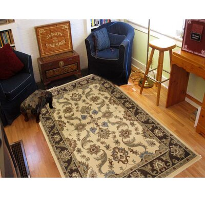 Rowena Persian Cream/Brown Area Rug Rug Size: 92 x 126