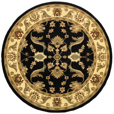 Rowena Persian Black/Cream Area Rug Rug Size: Round 4'
