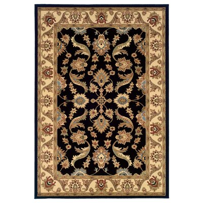 Rowena Persian Black/Cream Area Rug Rug Size: 92 x 126