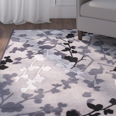 Ada Gray & Black Floral Area Rug Rug Size: 2 x 3