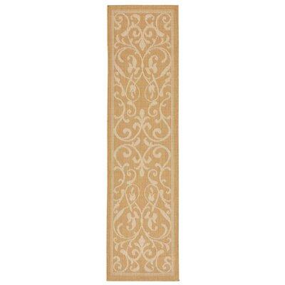 Brasstown Scroll Vine Almond/Camel Indoor/Outdoor Area Rug Rug Size: Runner 111 x 76