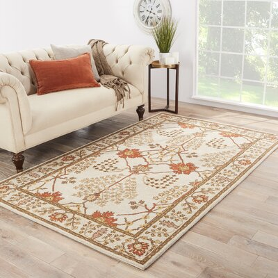 Trinningham Hand-Woven Wool Gold/Rust Red/Brown Wool Area Rug Rug Size: Rectangle 36 x 56