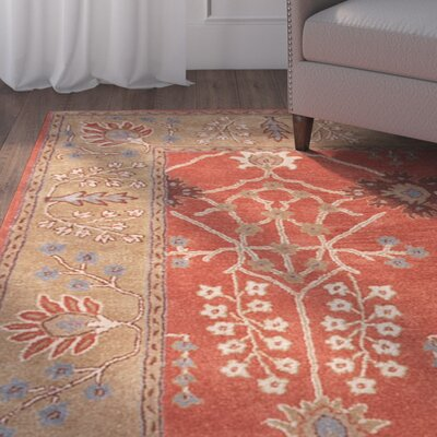 Trinningham Hand-Tufted Orange/Brown Area Rug